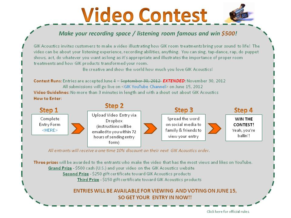 GIK Acoustics Video Contest Extended